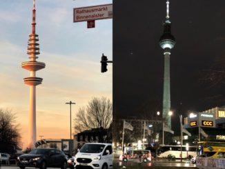 Fernsehturm in Hamburg und Berlin. Foto: Hussam Al Zaher.